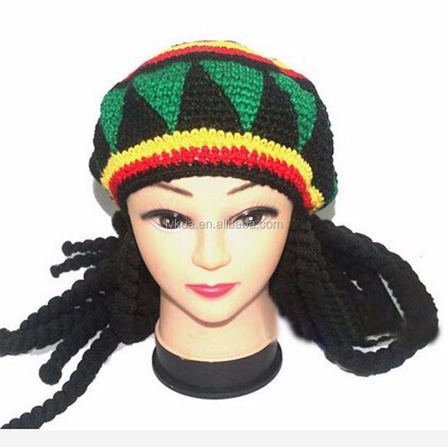 Jamaica Ganchillo Beanie Sombrero Con Rasta Rastas Africana Del Pelo ...