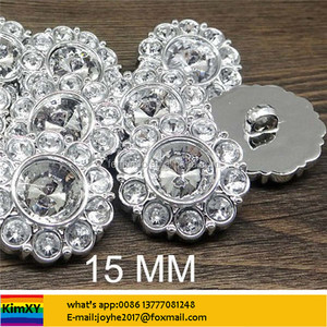 CRYSTAL CLEAR Rhinestone Buttons Round Buttons Garment Buttons DIY Embellishments 15mm ALSJOZ47