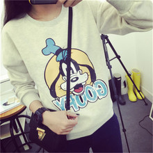 New arrival 2016 autumn goofy dog loose plus velvet thickening long sleeve pullover women sweatshirt Women