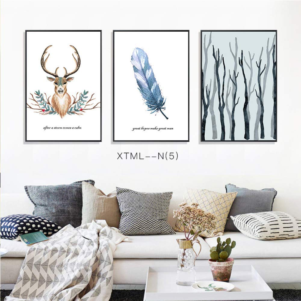 DEED Simple elk Plant European Decorative Painting, Animal Pattern Still Life Mural, Living Room Decorative Painting, Hanging Painting, Triptych