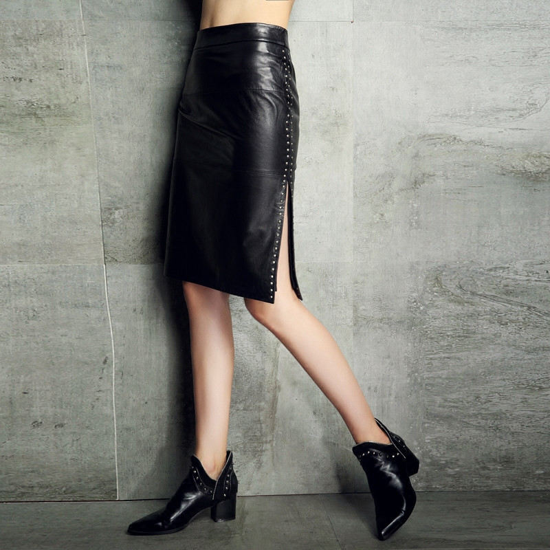 Women Fashion Black Real Leather Pencil Skirt