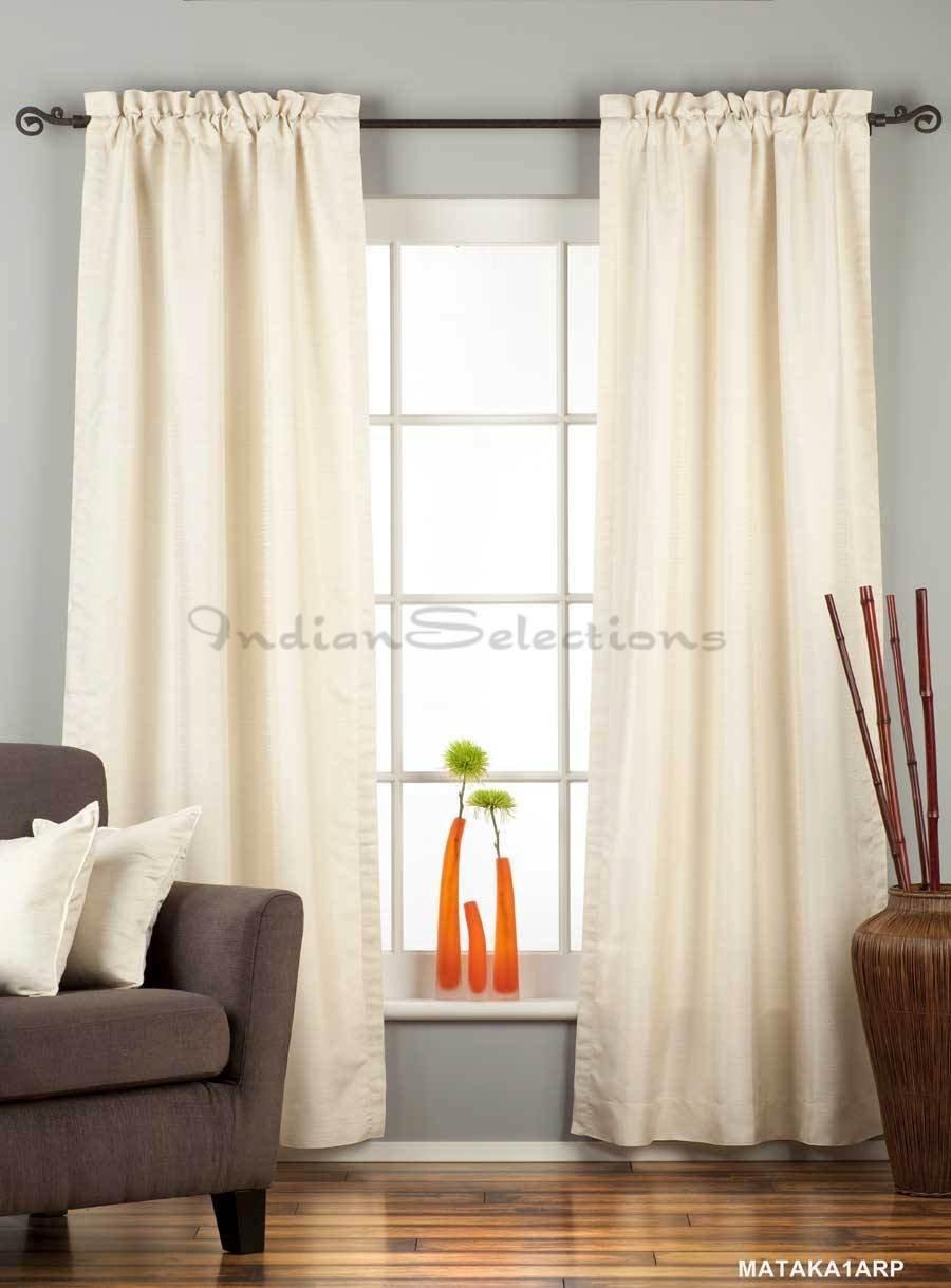 Cream Rod Pocket Matka Raw Silk Curtain / Drape - 43W x 96L - Piece