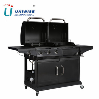 Heavy Duty Gas And Charcoal Combo Bbq Grill Smoker