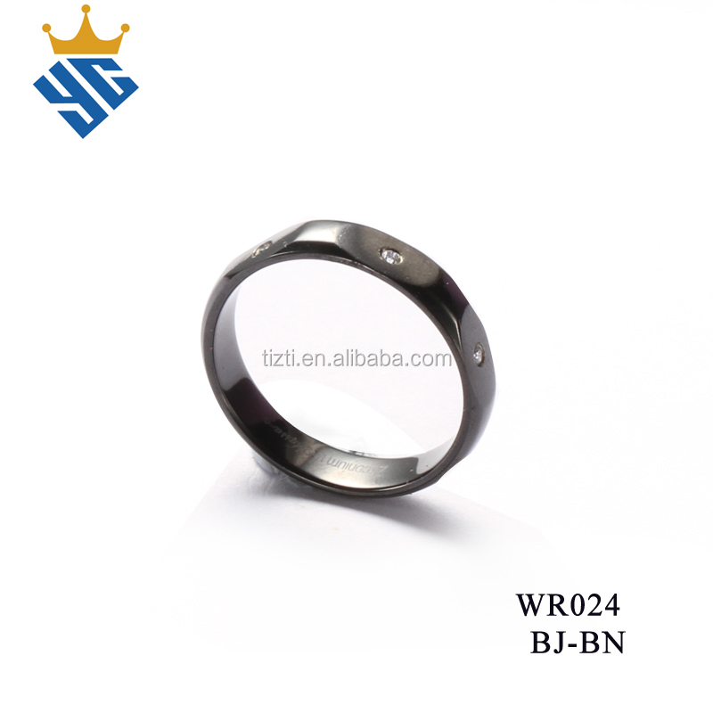 Top Quality Jewelry Black 316L Stainless Steel Mens Women's Wedding Ring with small cz stones