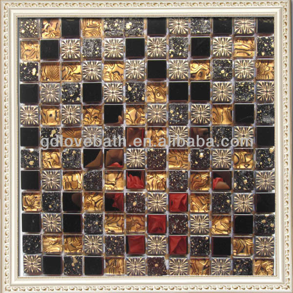 Classical design 8mm thickness glass and metal mix resin mosaic