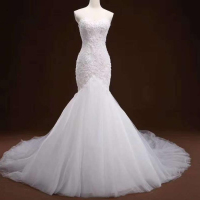 RSM66289 Jancember white sweetheart strapless cheap lace up elegant mermaid lace wedding dress bride use dress