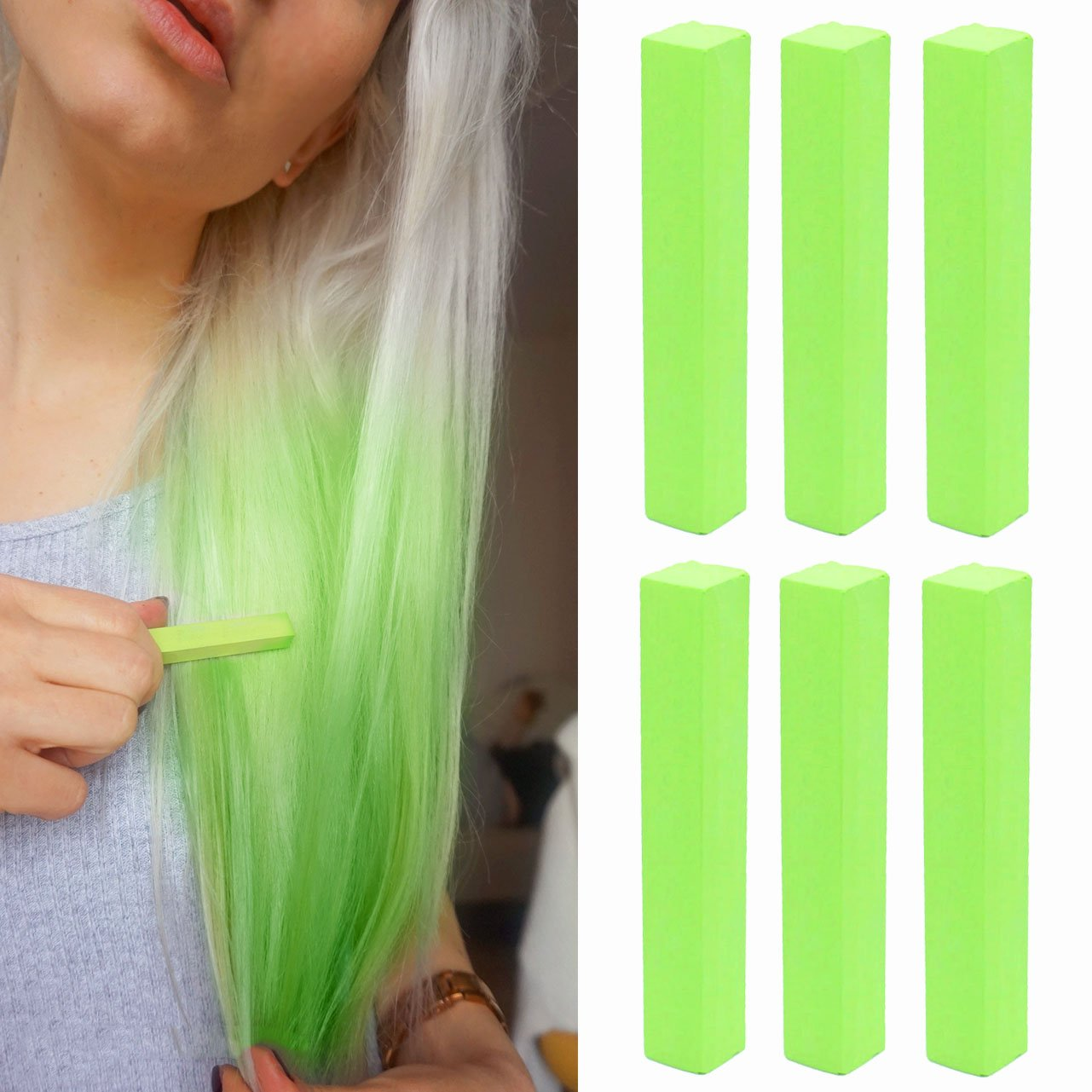Buy Crazy Neon Green Hair Dye Green Apple Temporary Hair Chalk With Shades Of Green Set Of 6 Hair Dye Color Your Hair Neon Green In Seconds With Temporary