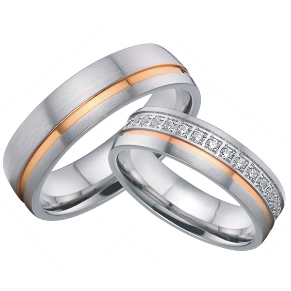 custom titanium jewelry bridal pair rose gold plated inlay wedding bands couples rings sets alliance for couples