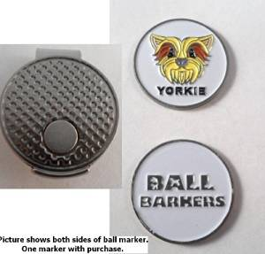 Ball Barkers Yorkie Golf Ball Marker & Hat Clip White