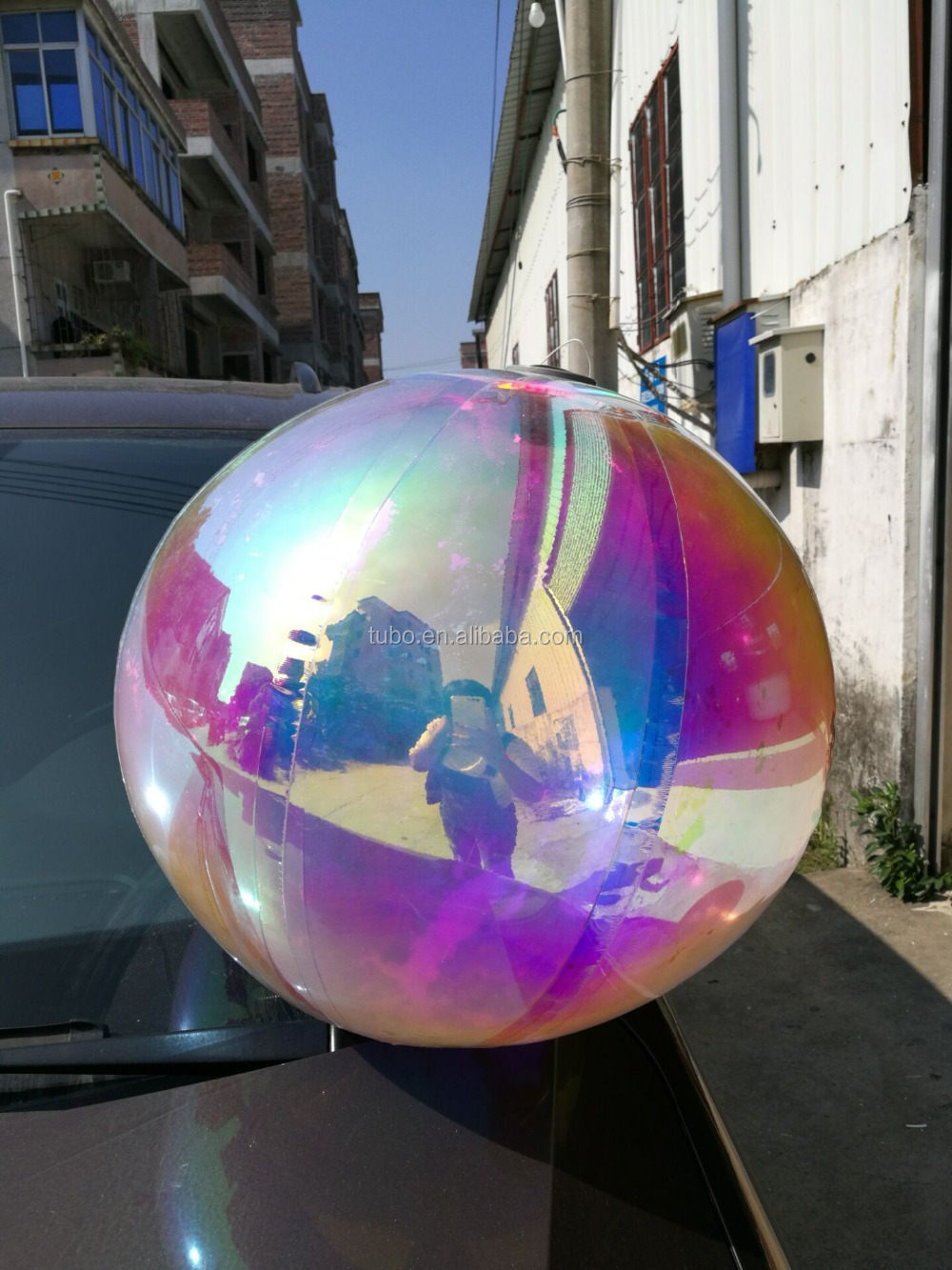 hot sale colorful large giant 5m sliver inflatable mirror ball/inflatable pvc mirror balloon for decoration