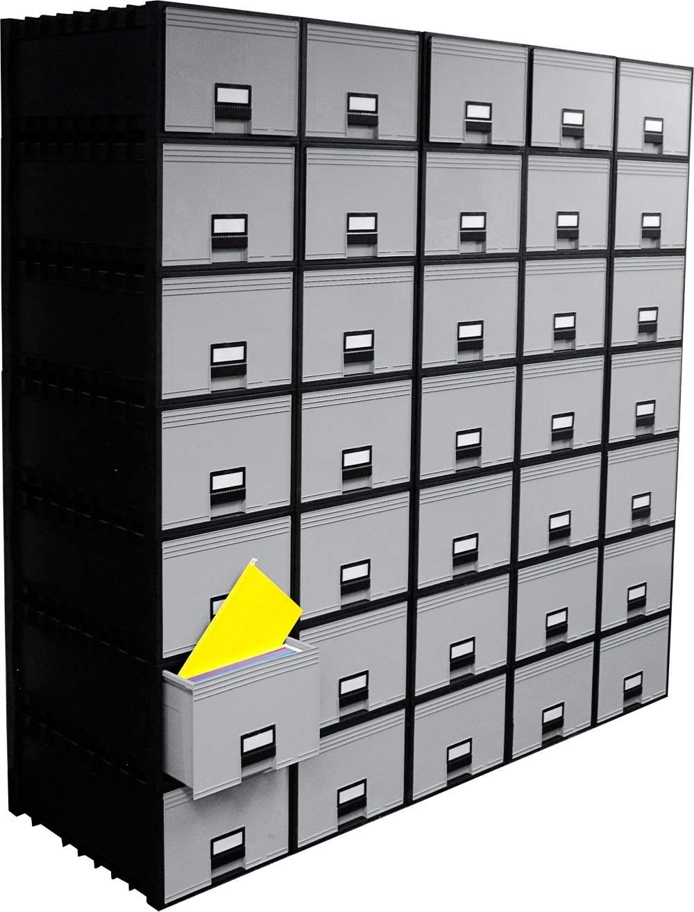 """Set of 1, Archive Storage Box - Dimensions: 15.2""""W x 24.3""""D x 11.4""""H Weight: 10 Lbs Stackable & Water-Resistant, Construction: Molded Plastic. Drawer: One - Black/Gray"""