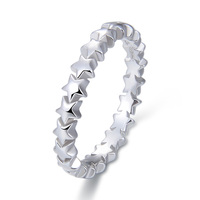 China Simple Tanishq 999 Jewellery Real Pure Plain 925 Sterling Silver Stackable Alphabet Letter Wave Knot Moon Star Band Ring