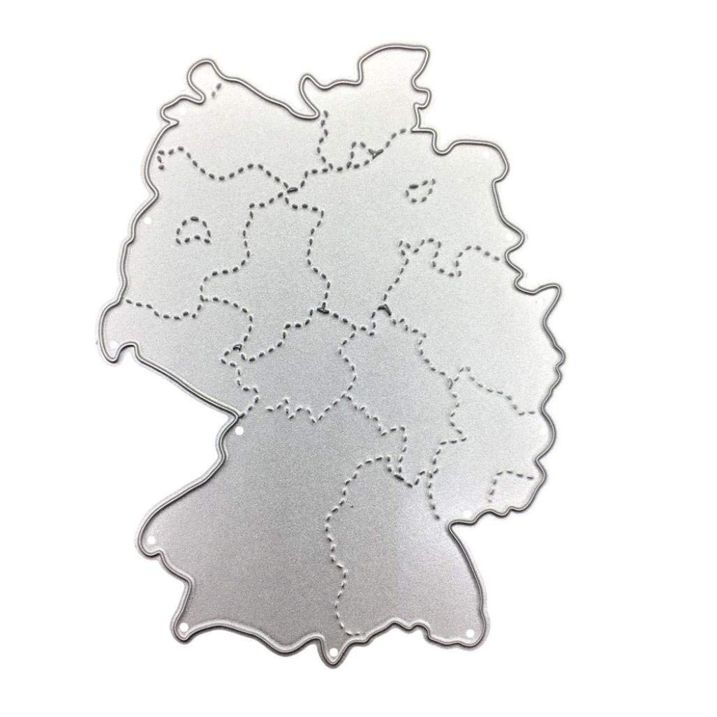 Cutting Dies,Pollyhb New 2018 Football Game National Map Metal Cutting Dies Stencil DIY Embossing, For Card Making (B:10580mm)