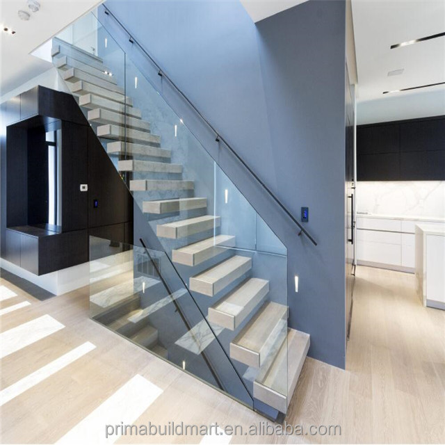 Prima manufacturer high standard wood glass floating stairs with railings