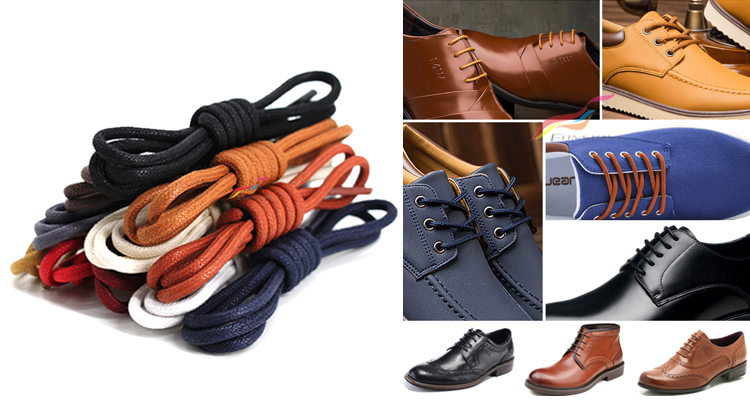2018 new style waxed cotton shoelaces shoelace waxed waxed cotton round shoelaces