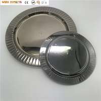 10 Inch Stripe Disposable Plastic Plate Stainless Steel Plated