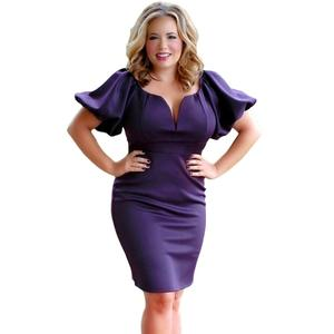 055b4fd4e35 New design casual Puff Sleeve plus size ladies Formal Bandage bodycon dresses  with long sleeve