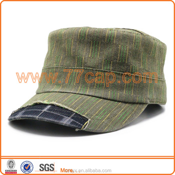 2016 Custom Hot Fashion Unisex Stone Washed with Torn Denim Army Caps High Profile Military Hats Adjustable