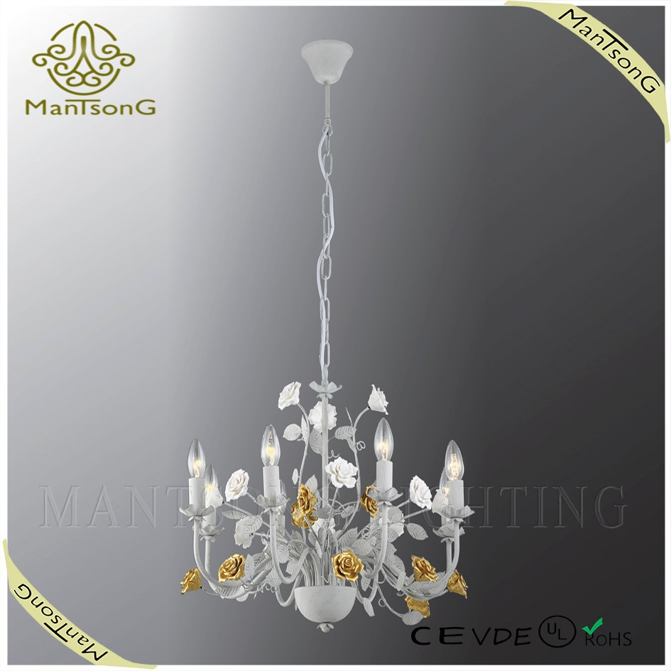 Fancy classic iron chandelier light, hanging candle light with ceramic flowers