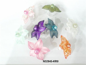 Cute adjustable resin daisy ring fashion epoxy flower ring colorful children plastic jewelries