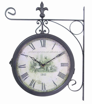 Round Wall Hanging Double Side Two Faces Train Railway Station Style Clock
