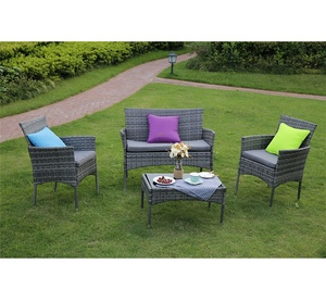 3/4-Piece Outdoor Rattan Garden Furniture Wicker Sofa Set Table and Chairs