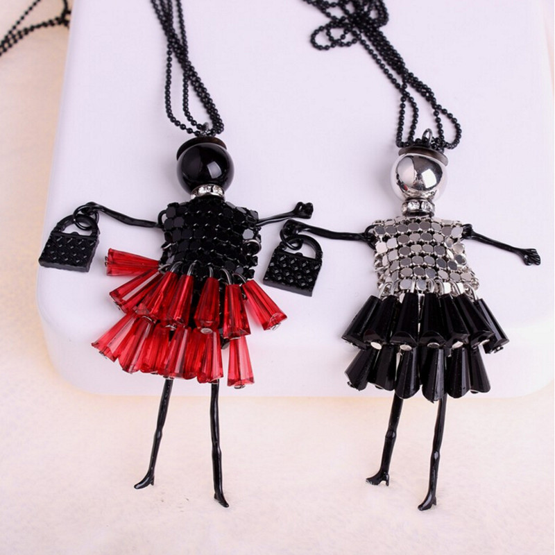 South Korea new crystal tablets long wild necklace cute princess handmade jewelry