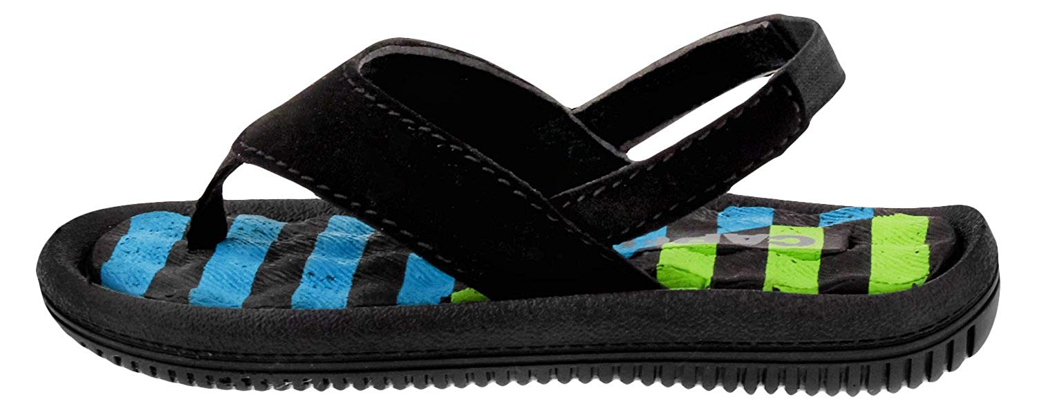 Capelli New York Faux Leather Thong Multi Stripes Print Toddler Boys Flip Flop