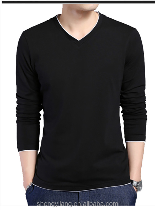 V Neck Long Sleeve Slim Fit Tee Shirt