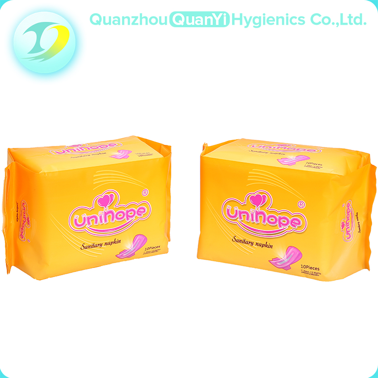Factory price green ADL PE back film ladies sanitary napkin pad with wing