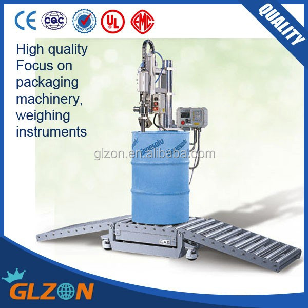 GFM-200 216L drum filling <strong>line</strong>, oil drum weighing filling machine, lubricant drum filler