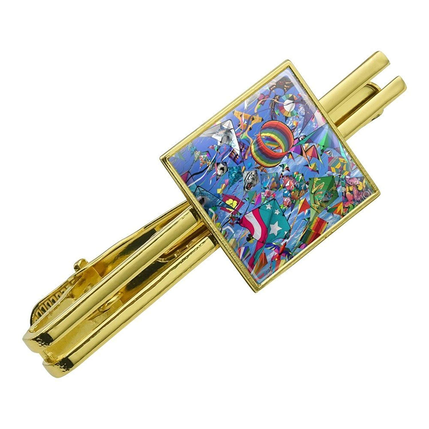 Graphics and More Kites Flying Riding The Wind Square Tie Bar Clip Clasp Tack- Silver or Gold
