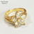 2018 dubai 24k gold jewelry rings cubic zircon pave rose gold cz engagement ring