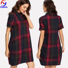 2018 European summer casual women short sleeve red plaid check flannel shirt dress