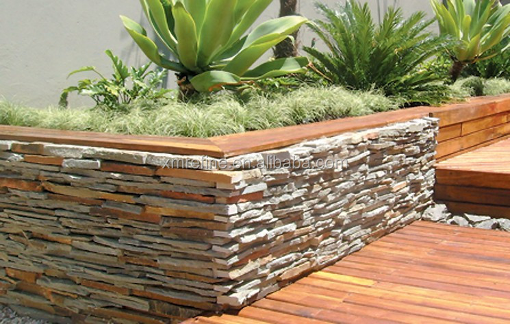 L-shape well stacked textured cultured stone wall tile,stone veneer corners