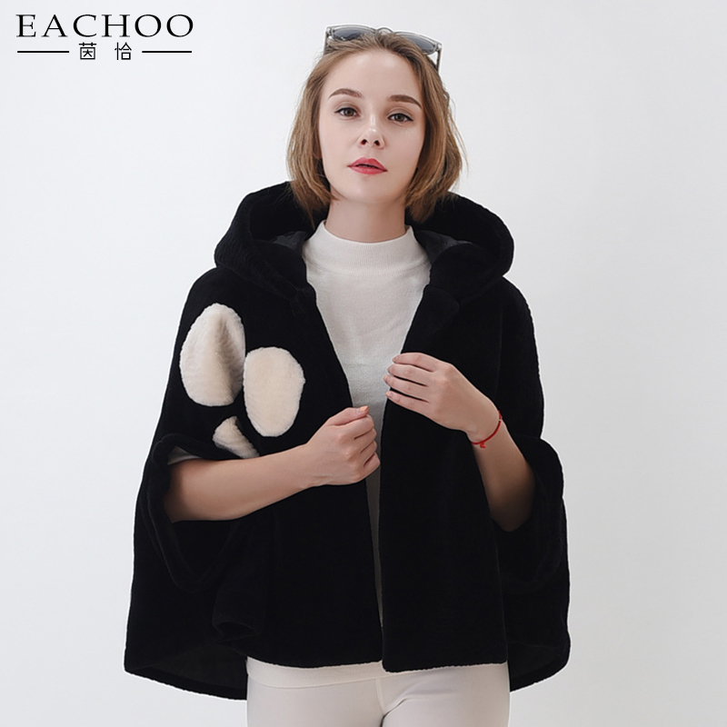 New ladies fashion short real lambswool cloak coat hooded coat