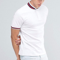 High Quality Classic Shirt Bomber Neck Collar White Pique Slim Fit Polos Embroidery polo shirts for men 100%