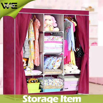 FOHO Patterned Cheap Assembled Fabric Wardrobe Closet With  Interlayer,foldable Wardrobe Storage Cabinet