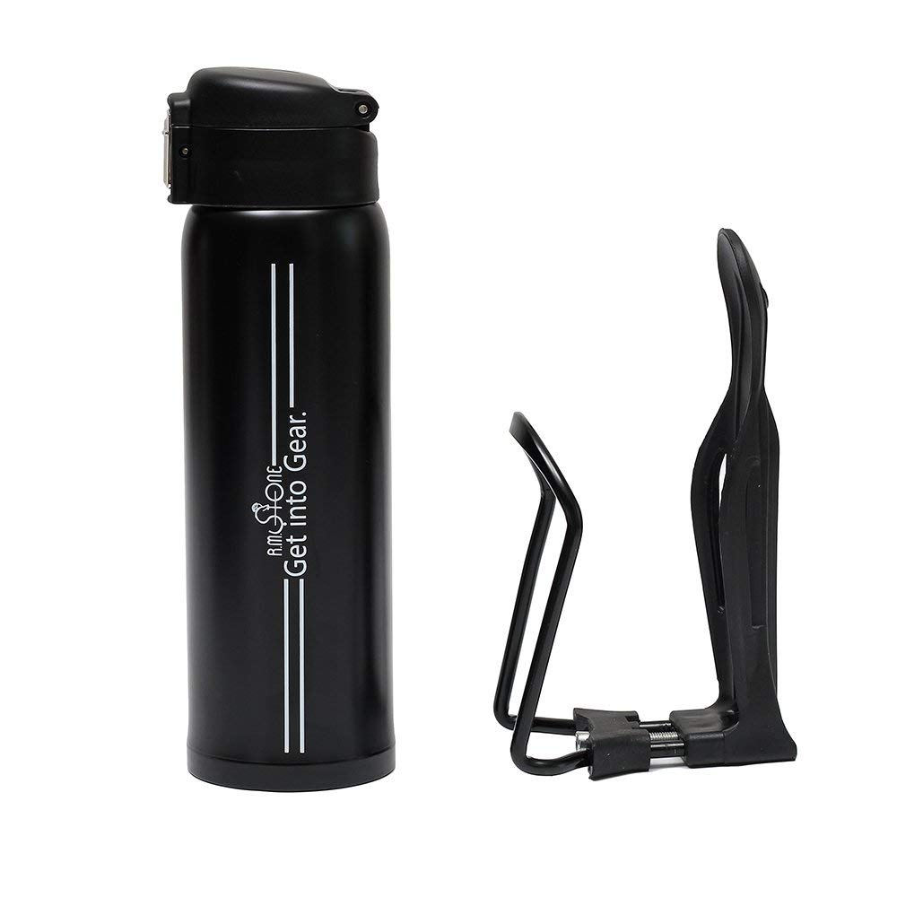 R.M.Stone Bike Bottle with Adjustable Cage: Model RMS2 1-Hand Operation,16 Oz Black Hot or Cold Thermos with Wide Mouth Holder plus Cycling Ebook | Made Drink While Cycle Easy |Extended Guarantee