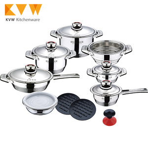 16Pcs Stainless Steel Cookware Set Non Stick Casserole Pots and Pans