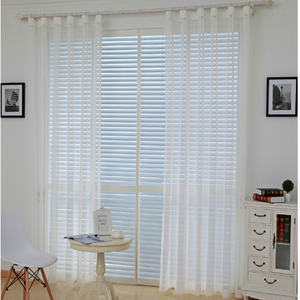 White transparent printed striped cafe kitchen curtains