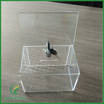 Clear Wall Mounted Acrylic Storage Box With Hinged Lid
