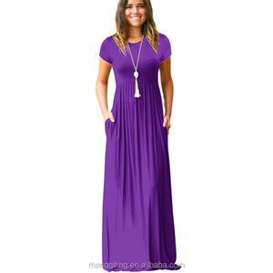 2018 Fashion Ladies short sleeve swing plain long maxi casual Dress with Pockets