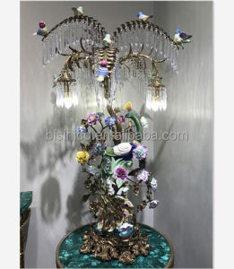 Golden Peacock Design Multiple Droplight Bronze Table Lamp, Peacock Light W Colorful Sparrow Perched On The Antique Bras Branch