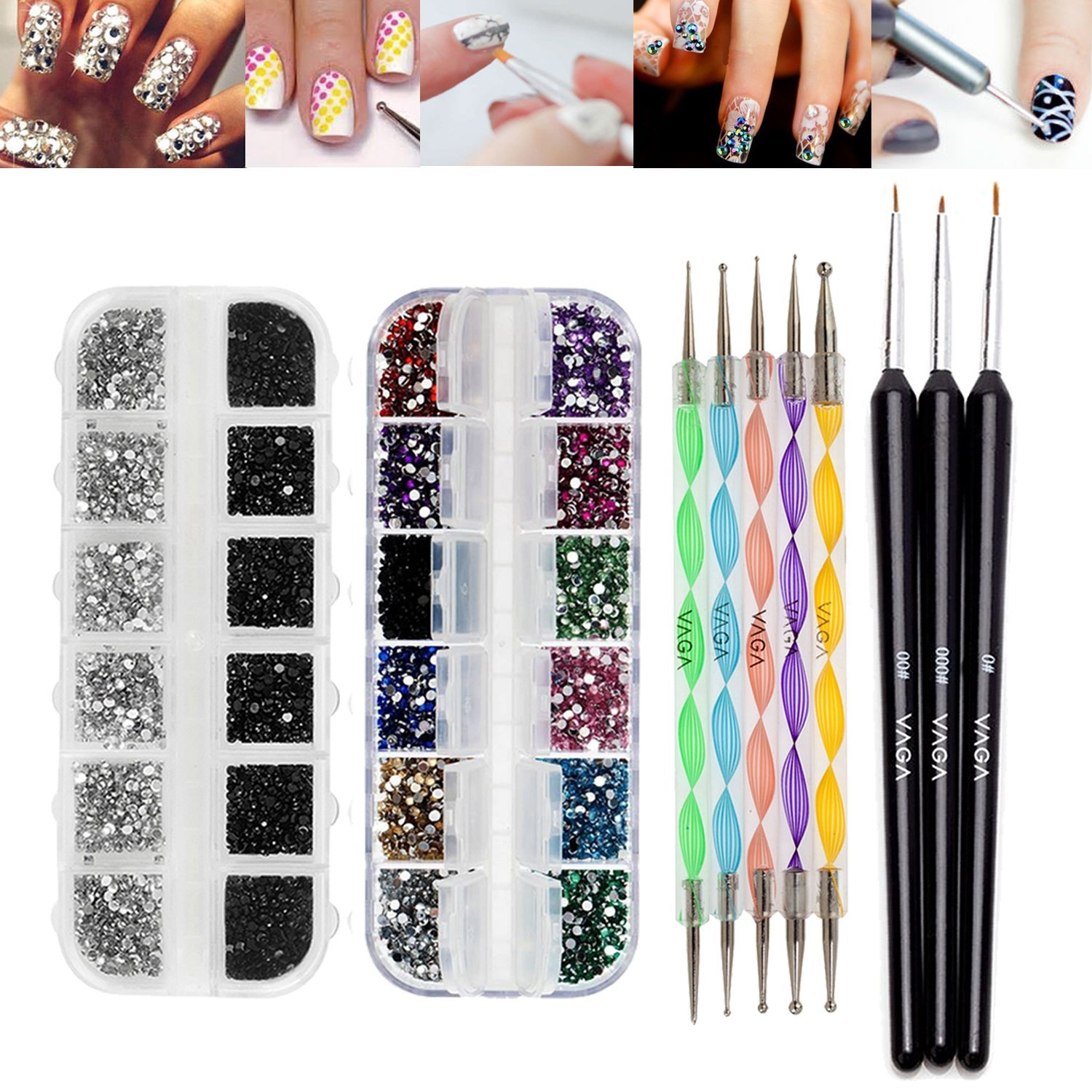 Best Offer Premium Quality Professional Nail Art Accessories Set Kit With 5 Colorful Double Ended Dotting / Marbling Tools / Dotters, 3 Wooden Handled Detailer Brushes / Stripers / Liners, 3000pcs Mixed Colors Rhinestones In Case And 2000pcs 2mm Round Black And Silver Crystals / Jewels Decorations