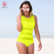 Plain Neon Green Color Layered One Piece Swimsuit for Women