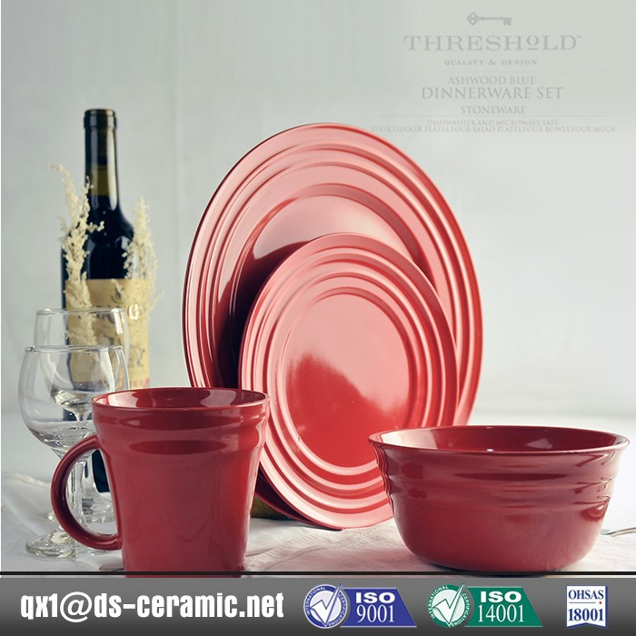 Wholesale low price high quality red glass dinnerware sets