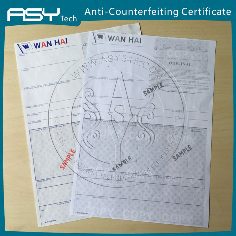 Security certificate, anti-counterfeiting invisible UV Bill of Lading printing
