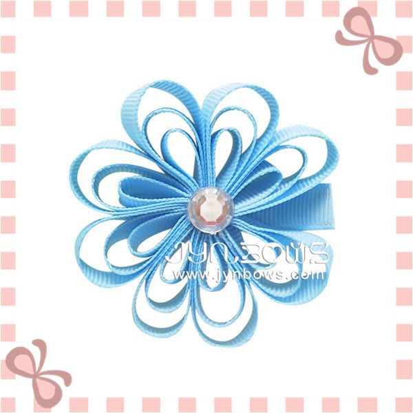 Fashion Grosgrain Hibiscus Shaped Hairgrips, Hair Clips for Kids
