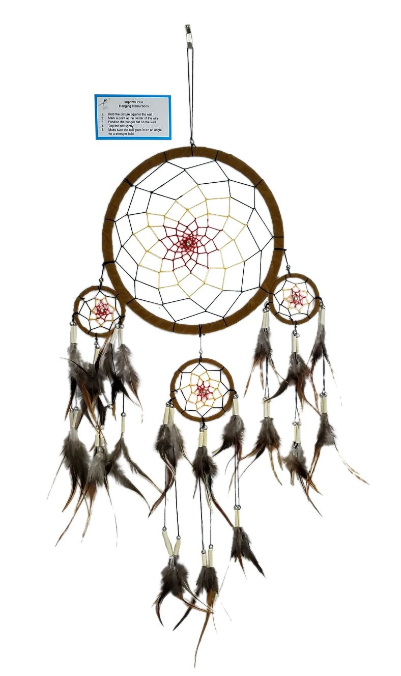 "Dream Catcher Handmade 13"" W with Ivory Beads, Genuine Feathers, Hanger and Descriptive Card bundle by Imprints Plus (34)"